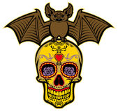 Bat stand over the sugar skull Royalty Free Stock Images
