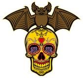Bat stand over the sugar skull. Vector of bat stand over the sugar skull Royalty Free Stock Images