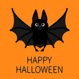 Bat standing flying. Happy Halloween. Cute cartoon character with open wing, ears and legs. Black silhouette. Forest animal. Flat Stock Photography