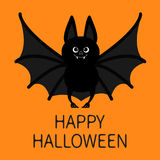 Bat standing. Happy Halloween. Cute cartoon character with big open wing, ears and legs. Black silhouette. Forest animal. Flat des Stock Images