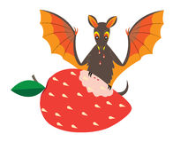 Bat and strawberry. Stock Image