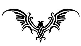 Bat tattoo. The bat black silhouette tattoo stock illustration