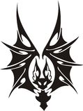 'bat' tribale. illustration stock