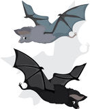 Bat in two variants, cartoon Stock Photo
