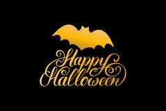 Bat vector illustration with Happy Halloween lettering. All Saints Eve background. Festive card design Stock Photo
