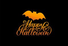 Bat vector illustration with Happy Halloween lettering. All Saints Eve background. Festive card design Royalty Free Stock Image