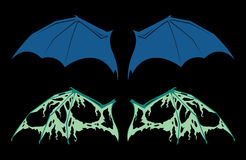 Bat Wings. Vector bat wing set with full and torn wings Royalty Free Stock Photos