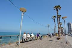Bat Yam - Israel. BAT YAM, ISR - MAR 24 2015:Visitors in Bat Yam esplanade.Bat Yam  is a resort city located on Israels Mediterranean Sea coast Stock Photos