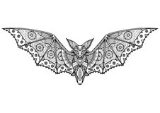 Bat Zentangle. Zentangle Bat totem for adult anti stress Coloring Page for art therapy, tribal illustration in doodle style. Vector monochrome sketch with high Stock Photos