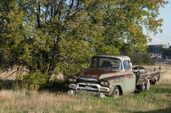 Bata acima Rusty Pick Up Truck Parked idoso sob uma árvore fotografia de stock royalty free