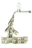 Bata com os dólares que fluem para fora Fotos de Stock Royalty Free