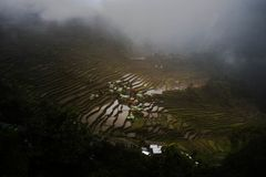 Batad rice terraces on a cloudy day. This is Batad rice terraces found in Banaue Ifugao Philippines. Built by hand over 2,000 years ago and dubbed as a UNESCO Royalty Free Stock Images