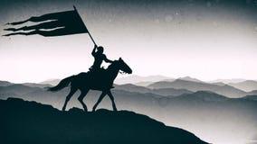 """Bataille de """"Orbulak """" Pékin, photo noire et blanche de la Chine Le guerrier tient une bannière photographie stock"""