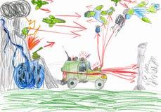 Bataille de guerre. dessin d'enfant. Photo libre de droits