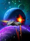 Bataille de l'espace près d'une planète étrangère avec deux lunes, les mêmes fusées contre un vaisseau spatial, ciel avec la nébu illustration libre de droits