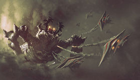 Bataille entre les vaisseaux spatiaux et le monstre Photos stock