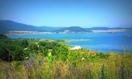 Batak水库全景,保加利亚 图库摄影
