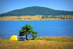 Batak水库全景,保加利亚 免版税库存图片