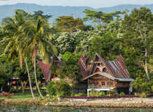 Batak house on the Samosir island near lake Toba Stock Photos