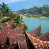Batak house on the Samosir island near lake Toba Stock Photo