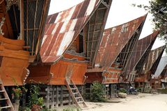 batak houses traditionellt Arkivbilder