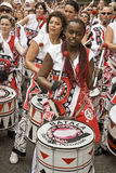 Batala drummer performing at Notting Hill Carnival Stock Photography
