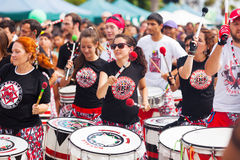 Batala drummers -  international music group Royalty Free Stock Photography