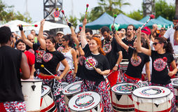 Batala drummers -  international music group that plays  samba Stock Photography