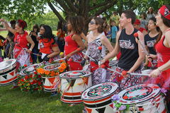 Batala At The 2015 Figment Festival 6. BatalaNYC is an international music group that plays a style of samba drumming, called samba reggae which originates in stock image