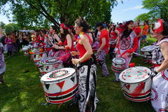 Batala At The 2015 Figment Festival 25. BatalaNYC is an international music group that plays a style of samba drumming, called samba reggae which originates in stock images