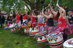 Batala At The 2015 Figment Festival 26. BatalaNYC is an international music group that plays a style of samba drumming, called samba reggae which originates in stock photo