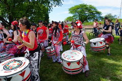 Batala At The 2015 Figment Festival 28. BatalaNYC is an international music group that plays a style of samba drumming, called samba reggae which originates in royalty free stock photography