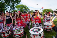 Batala At The 2015 Figment Festival 39. BatalaNYC is an international music group that plays a style of samba drumming, called samba reggae which originates in royalty free stock photography