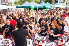 Batala-Schlagzeuger am Festival stockfoto