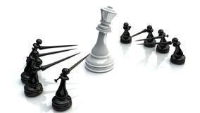 Batalha 1 da xadrez Fotografia de Stock Royalty Free