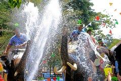 Batalha da água do jogo dos elefantes durante Songkran foto de stock