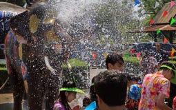 Batalha da água do jogo dos elefantes durante Songkran Fotos de Stock Royalty Free