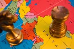 Batalha da xadrez de China e de Índia Imagem de Stock