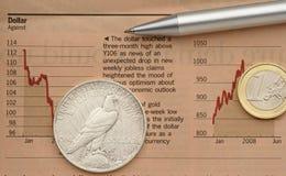 Batalha das moedas Fotos de Stock Royalty Free