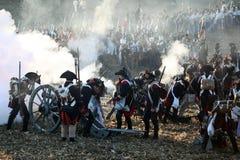 A batalha de Austerlitz, igualmente conhecida como a batalha dos três imperadores, era uma das grandes vitórias de Napoleon, onde Imagens de Stock