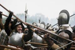 Batalha do Reenactment do grolle Os Países Baixos Luta histórica entre o espanhol e o dutch Fotografia de Stock