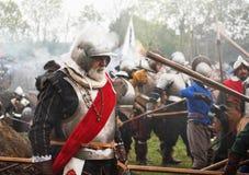 Batalha do Reenactment do grolle Os Países Baixos Luta histórica entre o espanhol e o dutch Fotografia de Stock Royalty Free