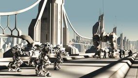 Batalha estrangeira Droids e fuzileiros navais do espaço Fotos de Stock Royalty Free