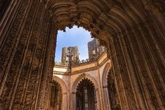Batalha Gothic Monastery In Portugal. Detail Of Facade Gothic Monastery Stock Photos