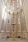Batalha Monastery. Crucifix Stained Glass windows Royalty Free Stock Images