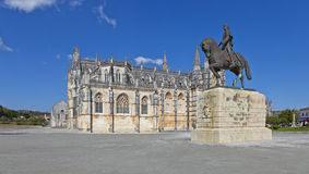 Batalha Monastery and Nuno Alvares Pereira statue. One of Portugal most important national heroes. Medieval noble and knight. Portugal. UNESCO World Heritage Stock Images