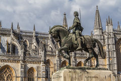 Batalha Monastery. Nuno Alvares Pereira statue. One of Portugal most important national heroes. Medieval noble and knight. Portugal. UNESCO World Heritage Site Stock Photo