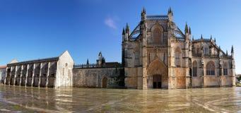 Batalha Monastery panorama. Main entrance panorama of Batalha Monastery, Portugal stock image