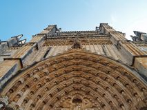 Batalha Monastery Portugal. Close up view of main entry to Batalha Monastery in Portugal.  Shows example of ornate medieval architecture Stock Photos