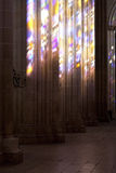 Batalha Monastery. Stained Glass color effects over the church columns Royalty Free Stock Photography